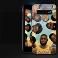NBA Head Portrait Glass Mirror Surface Silicone Glass Covers Protective Back Cases For Samsung Galaxy S10 - Black