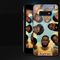 NBA Head Portrait Glass Mirror Surface Silicone Glass Covers Protective Back Cases For Samsung Galaxy S10E - Black