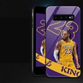NBA James Glass Mirror Surface Silicone Glass Covers Protective Back Cases For Samsung Galaxy S10 - Purple