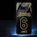 NBA Lakers 6 James Glass Mirror Surface Silicone Glass Covers Protective Back Cases For Samsung Galaxy S10E - Black