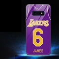 NBA Lakers 6 James Glass Mirror Surface Silicone Glass Covers Protective Back Cases For Samsung Galaxy S10E - Purple