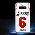 NBA Lakers 6 James Glass Mirror Surface Silicone Glass Covers Protective Back Cases For Samsung Galaxy S10E - White