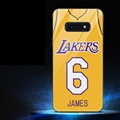 NBA Lakers 6 James Glass Mirror Surface Silicone Glass Covers Protective Back Cases For Samsung Galaxy S10E - Yellow