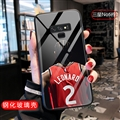 NBA Leonard Jersey Glass Mirror Surface Silicone Glass Covers Protective Back Cases For Samsung Galaxy Note9 - Black