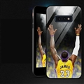 NBA Raise Hands James  Glass Mirror Surface Silicone Glass Covers Protective Back Cases For Samsung Galaxy S10E - Black
