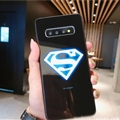 Noctilucent Superman Glass Mirror Surface Silicone Glass Covers Protective Back Cases For Samsung Galaxy S10 5G - Black