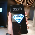Noctilucent Superman Glass Mirror Surface Silicone Glass Covers Protective Back Cases For Samsung Galaxy S8 - Black