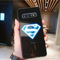 Noctilucent Superman Glass Mirror Surface Silicone Glass Covers Protective Back Cases For Samsung Galaxy S9 - Black