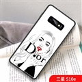 Red Lips Dior Marble Aurora Laser Shell Glass Covers Protective Back Cases For Samsung Galaxy S10 Lite S10E - White