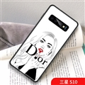 Red Lips Dior Marble Aurora Laser Shell Glass Covers Protective Back Cases For Samsung Galaxy S10 - White