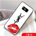 Red Lips YSL Marble Aurora Laser Shell Glass Covers Protective Back Cases For Samsung Galaxy S8 - White