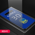 Warriors NBA Marble Aurora Laser Shell Glass Covers Protective Back Cases For Samsung Galaxy Note9 - Curry Blue
