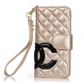 Classic Sheepskin Chanel folder leather Case Book Flip Holster Cover for iPhone 11 Pro - Gold