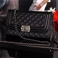 Long Chain Chanel Handbag Genuine Leather Case Book Flip Holster Cover For iPhone 11 Pro - Black