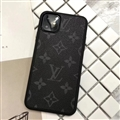 Classic Flower LV Protective Leather Back Covers Holster Cases For iPhone 11 - Black