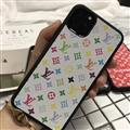 Classic Flower LV Protective Leather Back Covers Holster Cases For iPhone 11 Pro Max - Colourful White