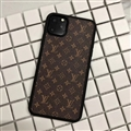 Classic Flower LV Protective Leather Back Covers Holster Cases For iPhone 11 - Small Brown