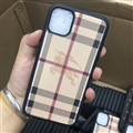 Classic Lattice Burberry Protective Leather Back Covers Holster Cases For iPhone 11 - Beige