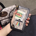Gucci Lattice Strap Flip Leather Cases Chain Book Hat Holster Cover For iPhone 11 Pro - Black