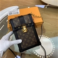 LV Monogram Chain Real Leather Case Crossbody Wallet Universal Bag Holster Cover For iPhone 11 Pro - Brown