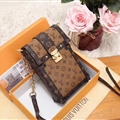 LV Monogram Chain Real Leather Case Crossbody Wallet Universal Bag Holster Cover For iPhone 11 Pro - Orange