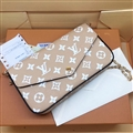 LV Monogram Flip Leather Case Holder Wallet Universal Bag Holster Cover for iPhone 11 - Beige Green
