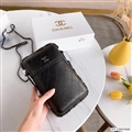 Chanel Check Chain Real Leather Case Crossbody Wallet Universal Bag Holster Cover For iPhone 11 Pro - Black