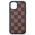 Classic Lattice Casing LV Leather Back Covers Holster Cases For iPhone 11 Pro - Brown