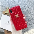 Classic Lattices Chanel Leather Hanging Rope Covers Soft Cases For iPhone 11 Pro - Red