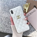 Classic Lattices Chanel Leather Hanging Rope Covers Soft Cases For iPhone 11 Pro - White