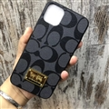 Classic Metal Coach Protective Leather Back Covers Holster Cases For iPhone 11 Pro - Black