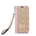 Coach Lattice Strap Flip Leather Cases Chain Book Holster Cover For iPhone 11 Pro - Pink Beige