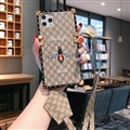 Gucci Faux Leather Ribbon Lanyards Cases Shell For iPhone 11 Pro Silicone Soft Covers - Honeybee 01
