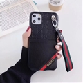 Gucci Flower Strap Flip Leather Cases Ribbon Back Holster Cover For iPhone 11 Pro - Black