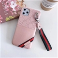 Gucci Flower Strap Flip Leather Cases Ribbon Back Holster Cover For iPhone 11 Pro - Pink