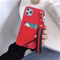 Gucci Flower Strap Flip Leather Cases Ribbon Back Holster Cover For iPhone 11 Pro - Red