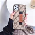 Metal Lattice Skin Gucci Leather Back Covers Holster Cases For iPhone 11 Pro - Beige