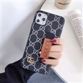 Metal Lattice Skin Gucci Leather Back Covers Holster Cases For iPhone 11 Pro - White