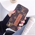Metal Monogram Skin LV Leather Back Covers Holster Cases For iPhone 11 Pro - Brown