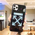 Off-White Mirror Surface Glass Cases Shell For iPhone 11 Pro Silicone Soft Covers - White