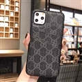 Unique Lattice Skin Gucci Leather Back Covers Holster Cases For iPhone 11 Pro - Black