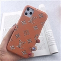 Unique Monogram Skin LV Leather Back Shell Holster Cases For iPhone 11 Pro - Orange