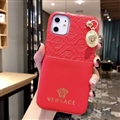 Versace Metal Strap Flip Leather Cases Ribbon Back Holster Cover For iPhone 11 Pro - Red