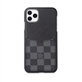 Classic Lattice Skin LV Leather Back Covers Holster Cases For iPhone 11 Pro Max - Black