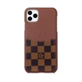 Classic Lattice Skin LV Leather Back Covers Holster Cases For iPhone 11 Pro Max - Brown