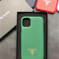 Classic Shell Prada Protective Leather Back Covers Holster Cases For iPhone 11 Pro Max - Green
