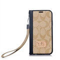 Coach Lattice Strap Flip Leather Cases Chain Book Holster Cover For iPhone 11 Pro Max - Black Beige