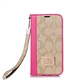 Coach Lattice Strap Flip Leather Cases Chain Book Holster Cover For iPhone 11 Pro Max - Rose Beige