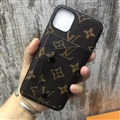 High Quality Shell LV Flower Leather Back Covers Button Cases For iPhone 11 Pro Max - Brown