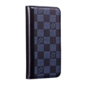 LV Lattice Simplicity Flip Leather Cases Cover Book Genuine Holster Shell For iPhone 11 Pro Max - Blue